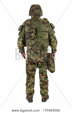 Soldier in uniform isolated on the white