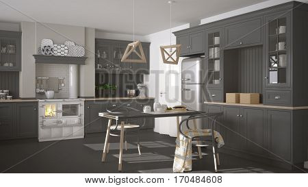 Scandinavian Classic Gray Kitchen With Wooden Details, Minimalistic Interior Design