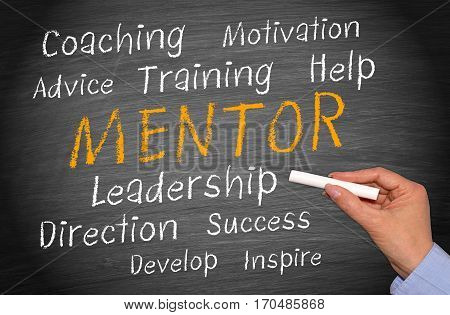 Mentor - Business Concept - female hand writing text