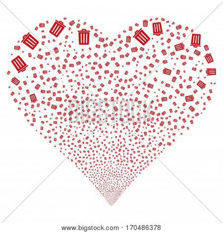 Dustbin fireworks with heart shape. Vector illustration style is flat red iconic symbols on a white background. Object valentine heart constructed from confetti icons.