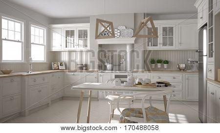 Scandinavian Classic White Kitchen With Wooden Details, Minimalistic Interior Design