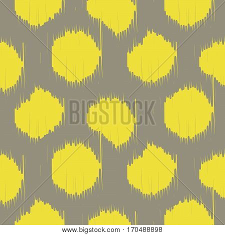 Ikat bold dots vector seamless pattern. Abstract geometric background for fabric, print or wrapping paper. Beige taupe and yellow design.