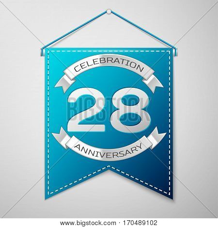 Blue pennant with inscription Twenty eight Years Anniversary Celebration Design over a grey background. Silver ribbon. Colorful template elements for your birthday party. Vector illustration