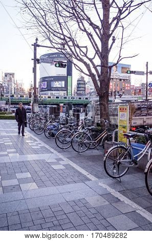 Shinjuku, Tokyo - January 7,2014: Street view of Shinjuku. Shinjuku is a special ward located in Tokyo Metropolis, Population density of 17,140 people per km. anuary 7,2014 in Tokyo, Japan.