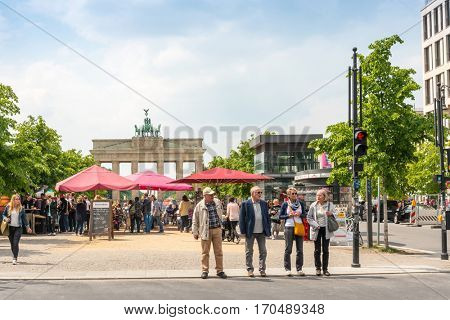 BERLIN, GERMANY- May 18, 2014: Brandenburg Gate (Brandenburger Tor) famous landmark in Berlin, Germany,rebuilt in the late 18th century as a neoclassical triumphal arch. May 18, 2014 in Berlin