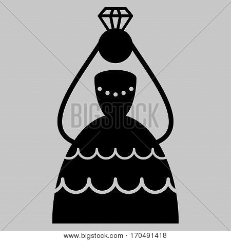 Crowned Bride vector icon symbol. Flat pictogram designed with black and isolated on a silver gray background.