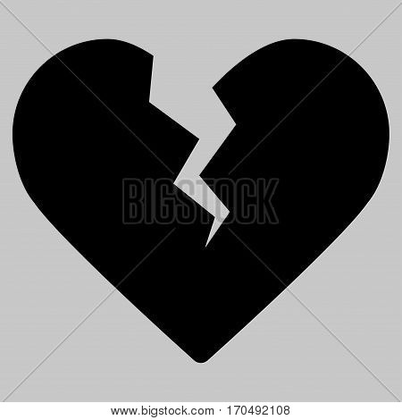 Divorce Heart vector icon symbol. Flat pictogram designed with black and isolated on a silver gray background.
