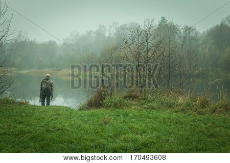 Autumn Beauty In The Natural Lake In Cloudy Weather