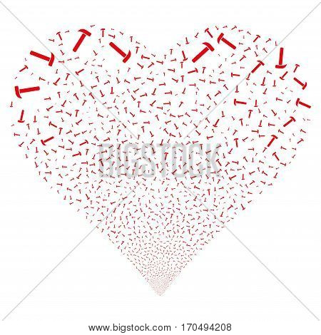 Hammer fireworks with heart shape. Vector illustration style is flat red iconic symbols on a white background. Object valentine heart organized from random pictographs.