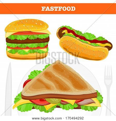 Fast food. Set of realistic vector icons isolated on white background. Burger, hot dog and sandwich.