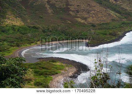 The crescent shaped Halawa Beach on Molokai Island Hawaii