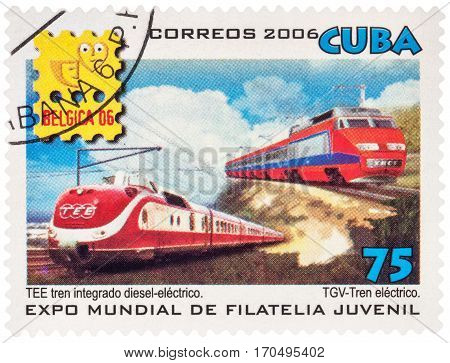 MOSCOW RUSSIA - Febuary 10 2017: A stamp printed in Cuba shows TEE Integrated diesel-electric train and TGV-Electric train series