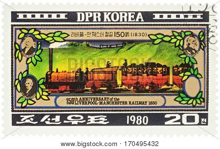 MOSCOW RUSSIA - February 07 2017: A stamp printed in DPRK (North Korea) shows old train series