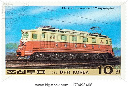 MOSCOW RUSSIA - February 07 2017: A stamp printed in DPRK (North Korea) shows Korean Electric locomotive