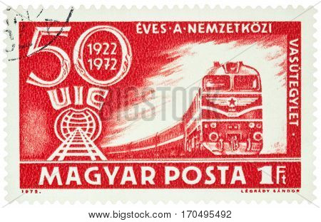 MOSCOW RUSSIA - Febuary 10 2017: A stamp printed in Hungary shows train devoted to the 50th Anniversary of the International Railroad Union Congress Budapest circa 1972