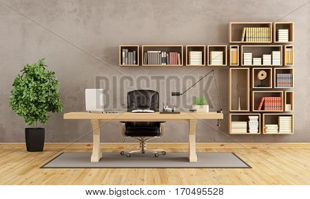 Office With Wooden Furniture