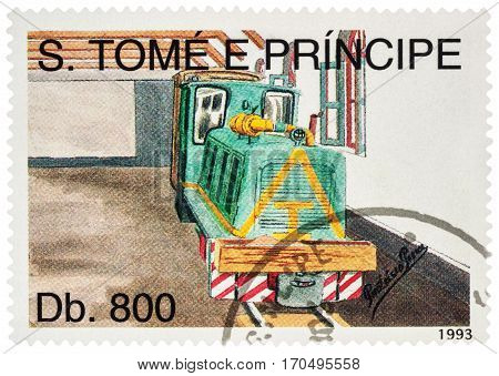 MOSCOW RUSSIA - February 09 2017: A stamp printed in Sao Tome and Principe shows picture of small diesel locomotive in depot series