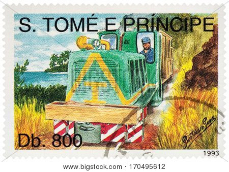 MOSCOW RUSSIA - February 08 2017: A stamp printed in Sao Tome and Principe shows picture of small diesel locomotive with motorman series