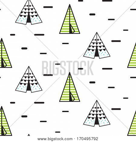 Teepee tent vector seamless pattern for children. Indian wigwam background for kid fabric and apparel.