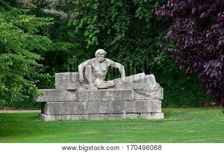 Reims France - july 26 2016 : statue by Paul Landowski on saint Nicaise hillock