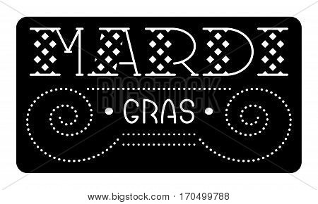 Mardi Gras laser cut brochure. Cutout logo with typography and fat symbols. Greeting card with festive carriage. A picture suitable for printing, engraving, laser cutting paper, wood, metal, stencil manufacturing.