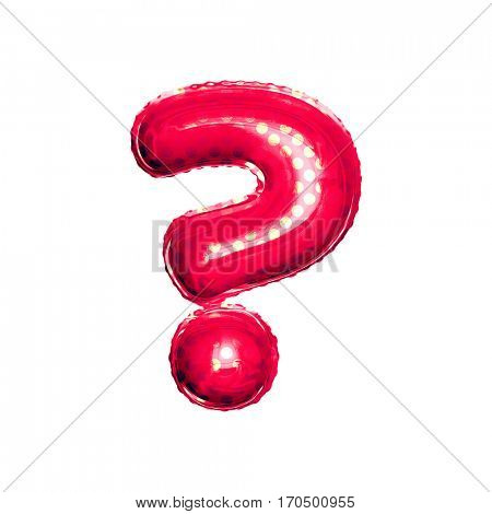 Metallic Red with Gold balloon alphabet letter crossed question mark symbol on white background
