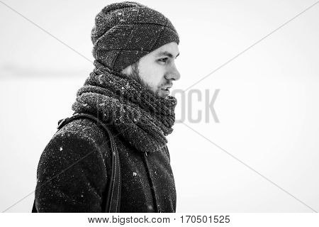 Outdoor Portrait Of Handsome Man In Gray Coat. Fashion Photo. Beauty Winter Snowfall Style. Black An