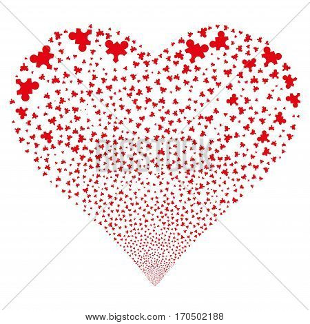 Plugin fireworks with heart shape. Vector illustration style is flat red iconic symbols on a white background. Object salute constructed from scattered pictographs.