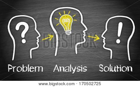Problem, Analysis, Solution - big idea and solution concept with heads and symbols