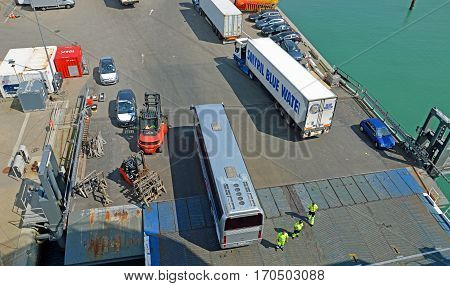 Hirtshals, Denmark - May 31, 2014: Trucks and buses are loaded onto a ferry to Iceland and the Faroe Islands in the port of Hirtshals.
