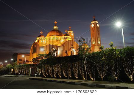 night landscape of Coptic Church, Sharm El Sheikh