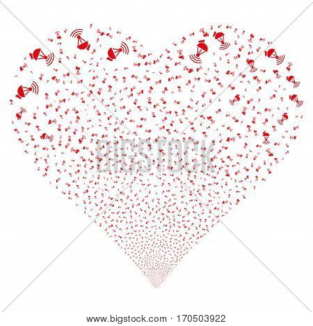 Radio Transmitter fireworks with heart shape. Vector illustration style is flat red iconic symbols on a white background. Object heart done from confetti icons.