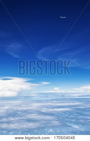 Oncoming flight traffic in mid air. Aircraft flying above earth beautiful white cloud. Clear blue sky aerial view from cabin through plane window. Vacation tour travel background with copy space
