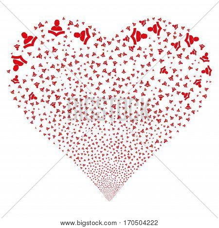 Reader fireworks with heart shape. Vector illustration style is flat red iconic symbols on a white background. Object heart constructed from confetti symbols.