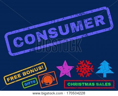 Consumer text rubber seal stamp watermark with additional bonus new year symbols. Caption inside rectangular shape with grunge design and unclean texture.