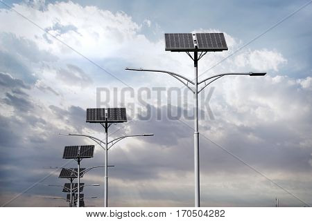 Solar panel with Lighting on blue sky
