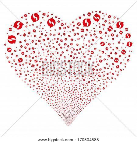 Refresh fireworks with heart shape. Vector illustration style is flat red iconic symbols on a white background. Object valentine heart made from confetti pictographs.