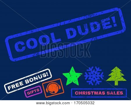 Cool Dude text rubber seal stamp watermark with bonus christmas symbols. Tag inside rectangular shape with grunge design and unclean texture.