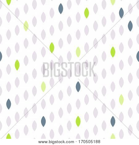 Simple drop polka dot shape green accents seamless pattern. Vector geometric row background. Polkadot pattern. Dotted scandinavian ornament.