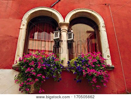 Old fashion two beautiful Windows of Venedig