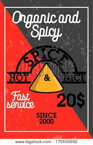 Color vintage spice shop banner. Stylish design with sketch illustration of spice