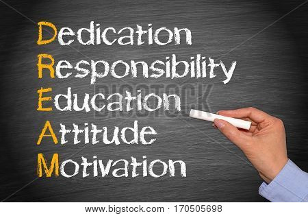 DREAM - Business Concept - Dedication, Responsibility, Education, Attitude, Motivation