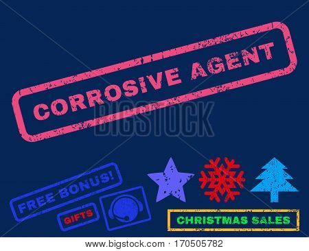 Corrosive Agent text rubber seal stamp watermark with additional bonus christmas symbols. Caption inside rectangular banner with grunge design and dust texture.