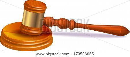 Judge hammer on white background. Vector image.