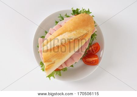 fresh sandwich with ham on white plate
