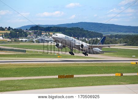 ZURICH - July 30:  United airlines taking off at Zurich Airport on July 30, 2016 in Zurich, Switzerland. Zurich airport is home port for Swiss Air and one of the european hubs.