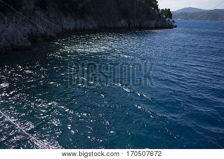 Daylight falls on the sea. Fethiye butterfly valley