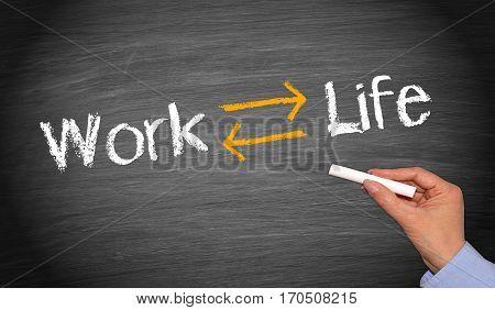 Work Life Balance - text with arrows