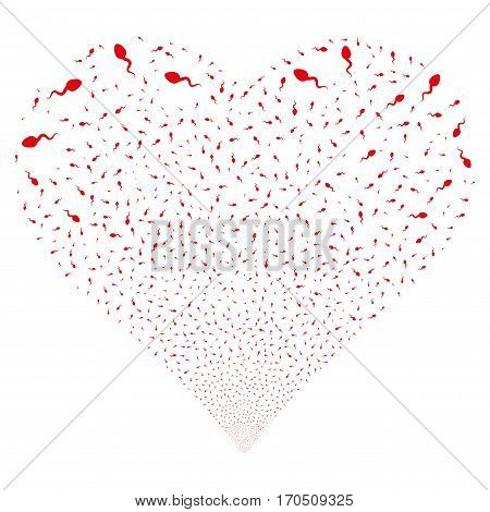 Spermatozoon fireworks with heart shape. Vector illustration style is flat red iconic symbols on a white background. Object salute combined from confetti design elements.