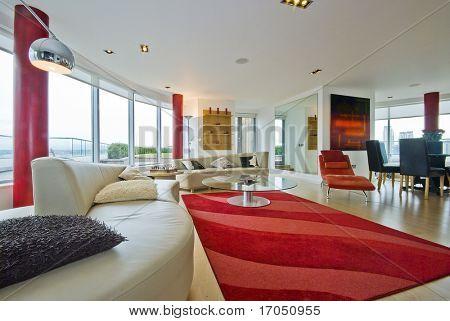 mobiliado apartamento contemporâneo, com mobiliário moderno